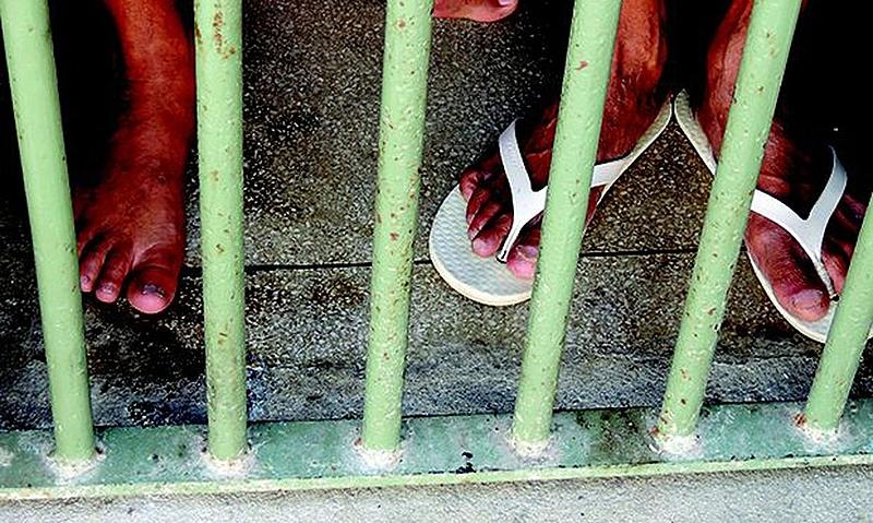 grade, cadeia, pés, chinelo